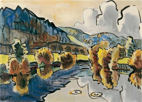 Karl Schmidt-Rottluff - Herbstliche Flußlandschaft