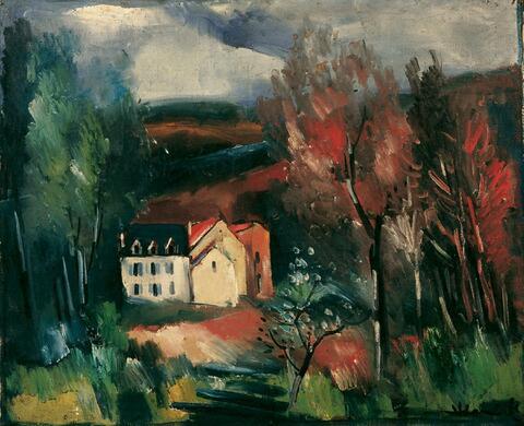 Maurice de Vlaminck - Paysage aux toits rouges