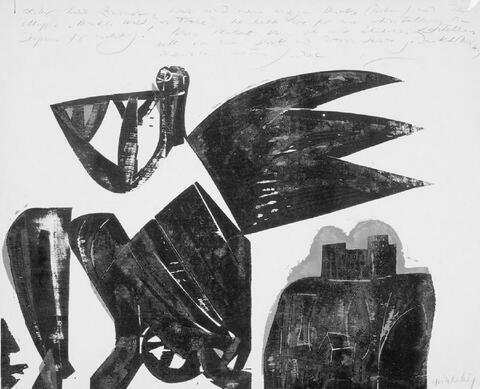 H.A.P Grieshaber - Neujahrsgruss 1960. Ursprung des Neckar. Weichnachten 1963