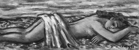 Frans Masereel - Nu allongé sur la plage