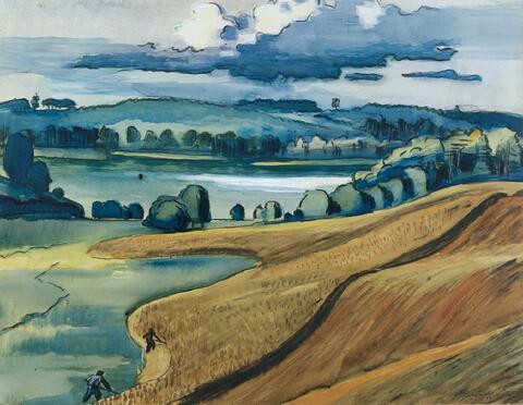 Hermann Max Pechstein - Sommerliche (Mecklenburger) Landschaft mit Getreidefeldern und Schnittern