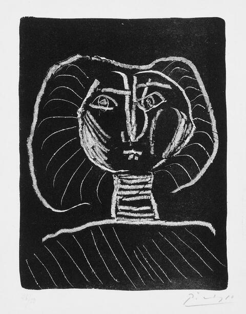 Pablo Picasso - Tête de Femme fond noir