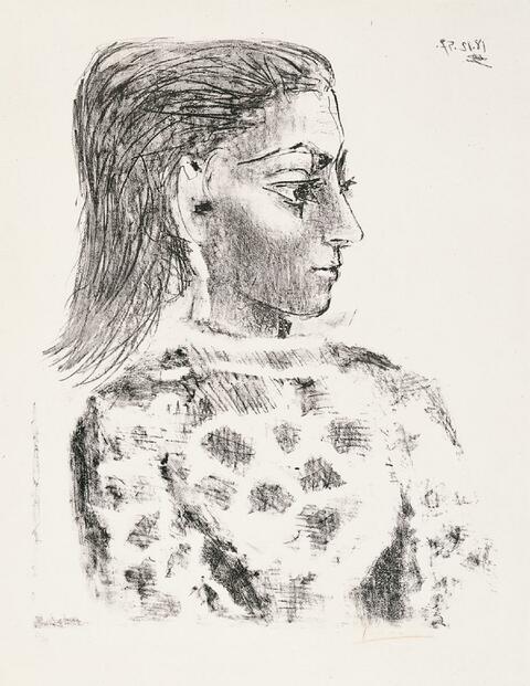Pablo Picasso - Buste au corsage a carreaux (Jacqueline)