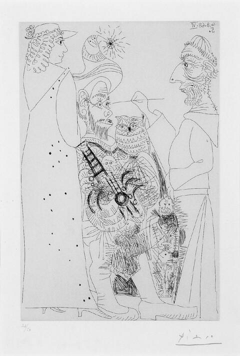 Pablo Picasso - Moine Peintre et Pénitente, Guitariste au Hibou, et petit Spectateur