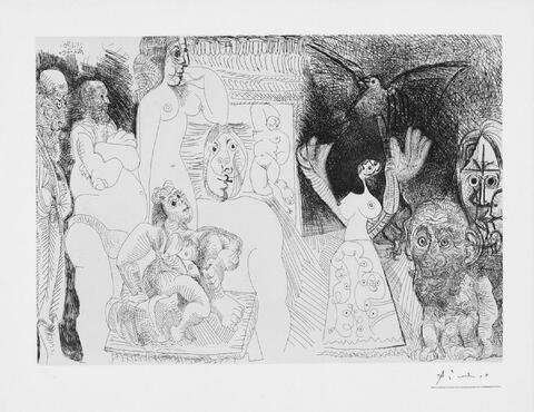 Pablo Picasso - Autoportrait dédoublé, Maja au pigeon, déménageur avec femme et sculpture, Hercule de foire vieillissant, père de l'artise, avec baigneuse ingresque au fond