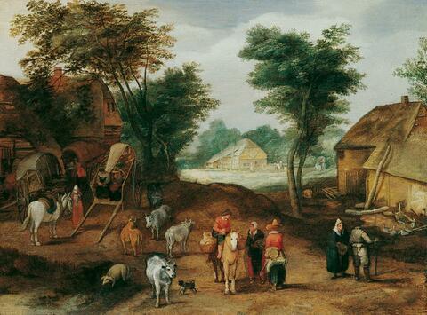 Jan Brueghel d. J., Umkreis - DORFSTRASSE MIT FIGUREN- UND VIEHSTAFFAGE.