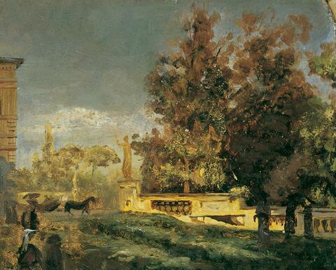 Oswald Achenbach - IM PARK DER VILLA BORGHESE IN ROM.