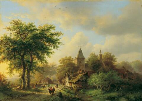 Barend Cornelis Koekkoek, zugeschrieben - BESONNTE DORFSTRASSE MIT KIRCHE.