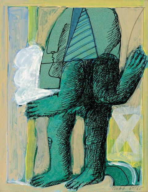 Horst Antes - Maskierte grüne Figur