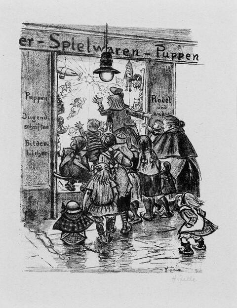 Heinrich Zille - Vor dem Weihnachts-Laden. Kinder beim Kreisspiel