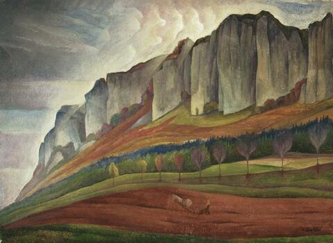 Albert Birkle - Landschaft mit Pflüger