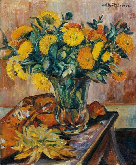 Natalja Sergejewna Gontscharowa - Stilleben mit gelbem Blütenstrauß (Ringelblumen)