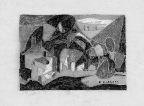 Adolf Hölzel - Kleine Landschaft. Phantastischer Vogel