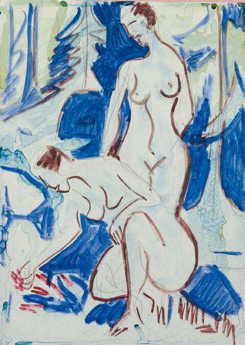 Ernst Ludwig Kirchner - Zwei Akte im Walde