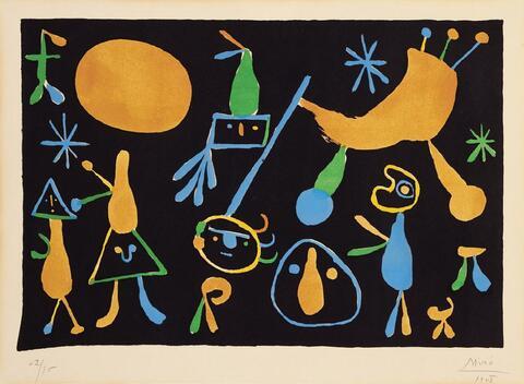 Joan Miró - People on a black background