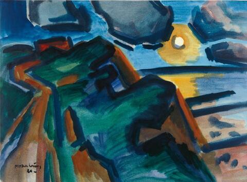 Ernst Mollenhauer - Nächtliche Meeresküste bei Mondschein