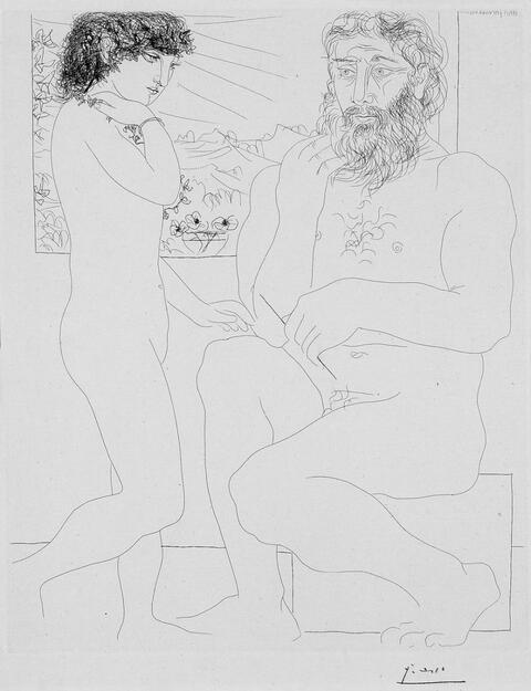 Pablo Picasso - Sculpteur songeant, modèle aux cheveux noirs et bol avec trois anémones