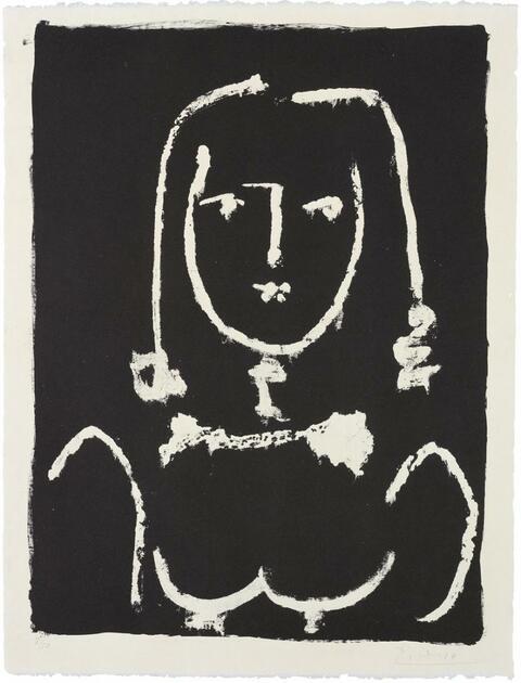 Pablo Picasso - Buste blanc sur noir