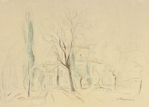 Hans Purrmann - Park mit Häusern (Trient). Obstkorb mit Schmetterlingen