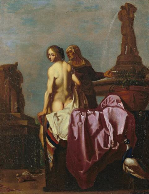 Cornelis van Poelenburgh - BATHSEBA UND IHRE DIENERIN.