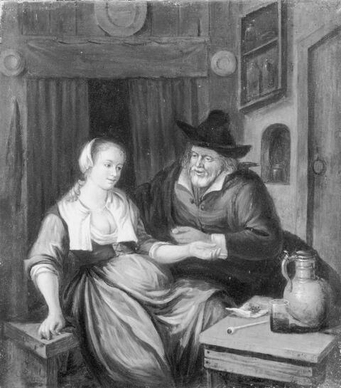 Jan Steen, in der Art - DAS UNGLEICHE LIEBESPAAR.