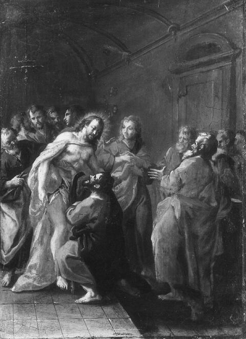 Januarius Zick, Umkreis - CHRISTUS UND DER UNGLÄUBIGE THOMAS.