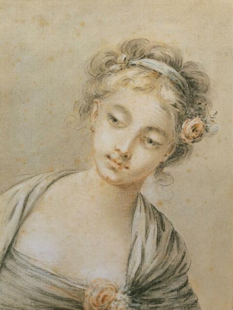 François Boucher, zugeschrieben - JUNGES MÄDCHEN MIT EINER ROSE IM HAAR.