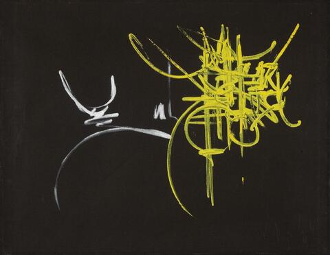 Georges Mathieu - Ohne Titel (Weiß-gelbe Komposition)