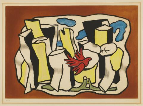 Nach Fernand Léger - L'oiseau rouge dans le bois
