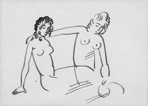 August Macke - Zwei sitzende weibliche Akte (Lagernde nackte Mädchen)