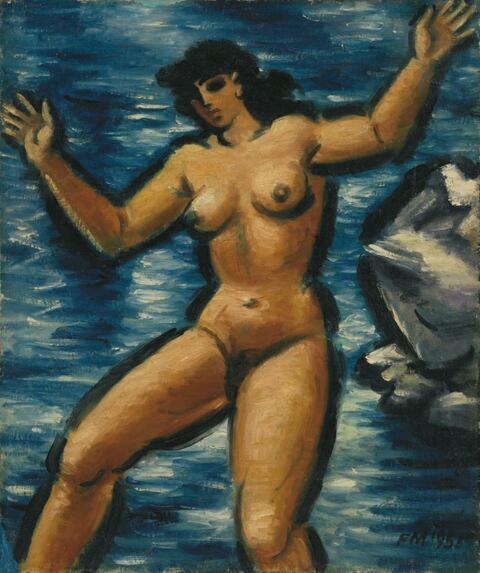Frans Masereel - Baigneuse III (Weiblicher Akt am Meer)