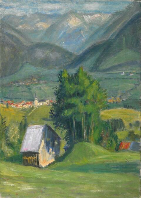 Otto Modersohn - Talblick (Heuschober und Baumgruppe)
