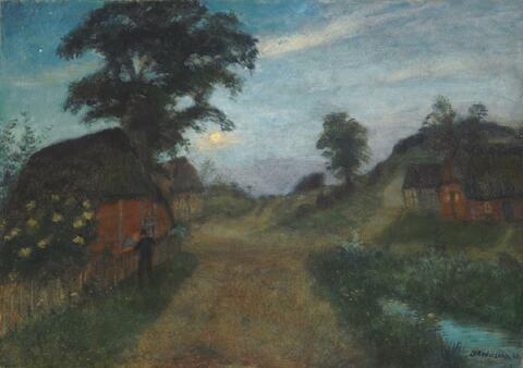 Otto Modersohn - Nächtliche Dorflandschaft