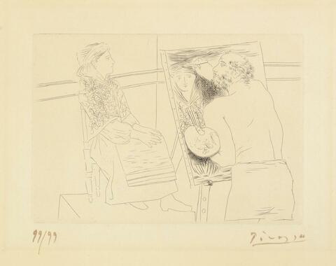 Pablo Picasso - Peintre chauve devant son chevalet