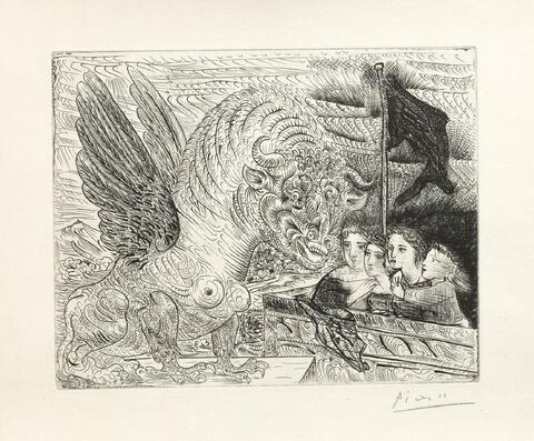 Pablo Picasso - Harpye à tête de taureau, et quatre petites filles sur une tour surmontée d'un drapeau noir