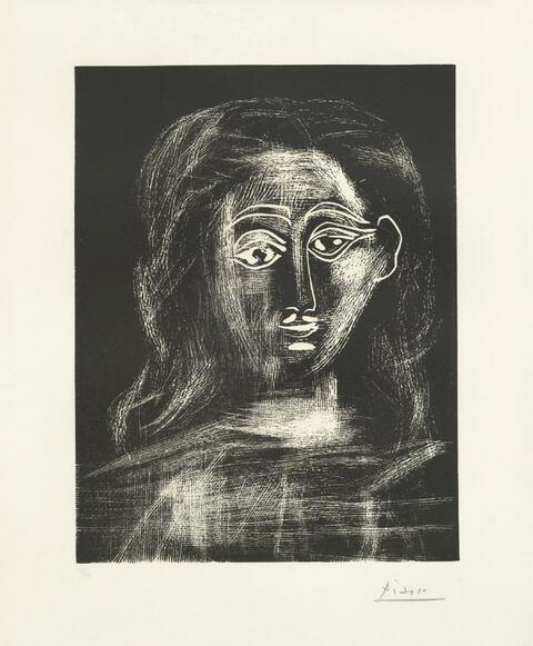Pablo Picasso - Jacqueline aux cheveux flous, en buste