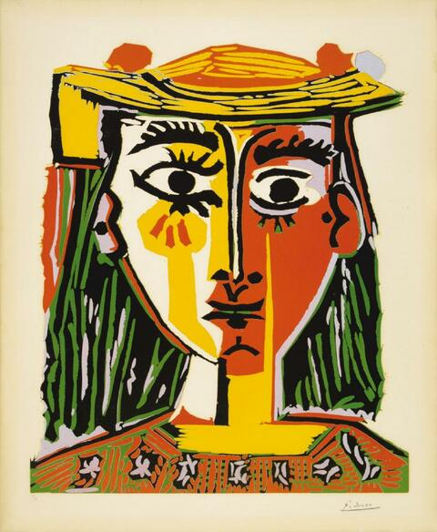 Pablo Picasso - Portrait de femme au chapeau à pompons et au corsage imprimé