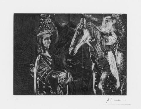 Pablo Picasso - Vieil homme et femme penchée sur l'encolure de son cheval