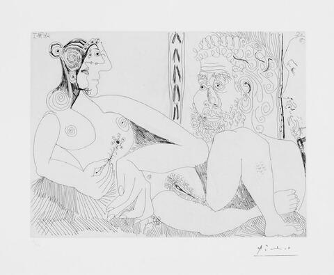 Pablo Picasso - Femme aux fleurs et portrait de Barbu, avec Degas de Profil