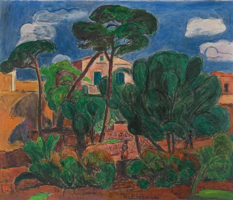 Hans Purrmann - Häuser umgeben von Pinien (Porto d'Ischia)