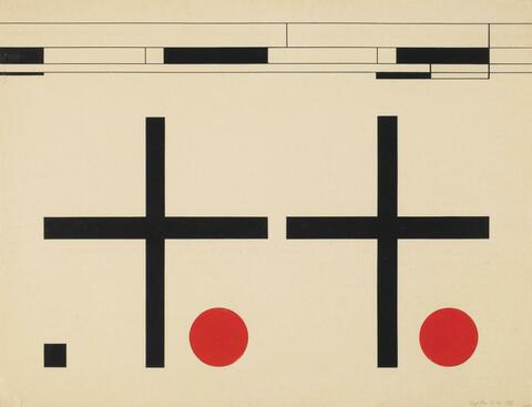 Karl Peter Röhl - Komposition mit roten Kreisen