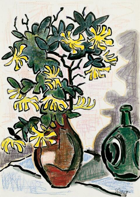 Karl Schmidt-Rottluff - Stilleben mit gelben Blumen (Klettenzweige) in einer braunen Vase