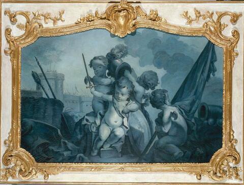 Französischer Meister - VIER SURPORTEN (BLEU EN CAMAIEU) MIT UNTERSCHIEDLICH AGIERENDEN PUTTEN.