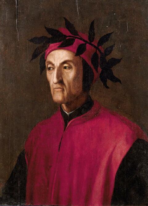Italienischer Meister - BILDNIS DES LORBEERBEKRÖNTEN DICHTERS DANTE ALIGHIERI.