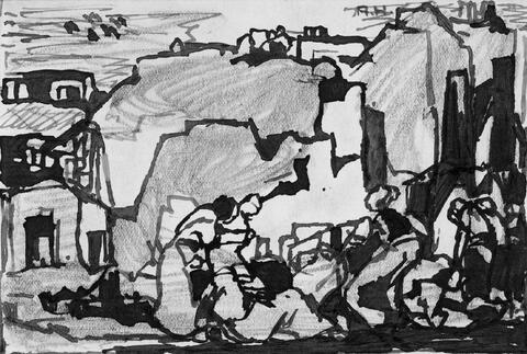 Adolf Hölzel - Figürliche Szenen in Landschaften.