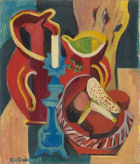 Ernst Ludwig Kirchner - Stilleben mit Krügen und Kerzen