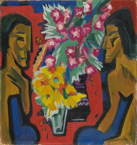 Ernst Ludwig Kirchner - Stilleben mit zwei Holzfiguren und Blumen