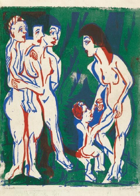Ernst Ludwig Kirchner - Nackte Frauen mit Kindern