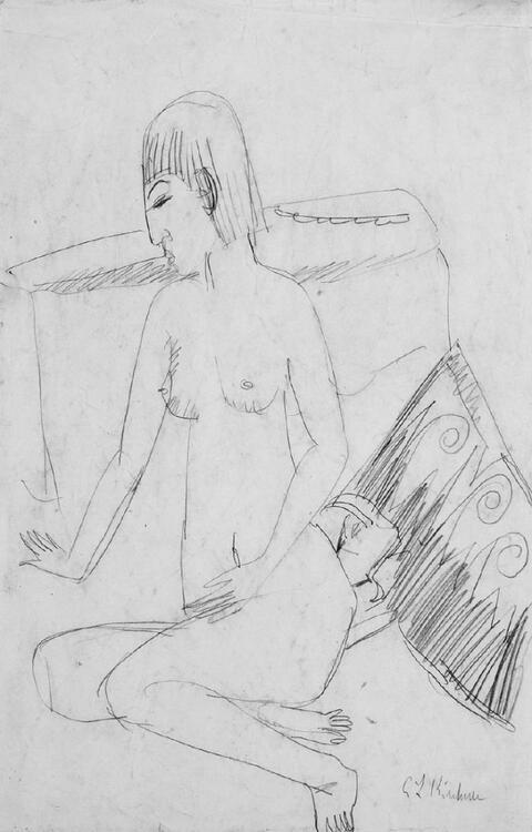 Ernst Ludwig Kirchner - Sitzender weiblicher Akt (Erna)
