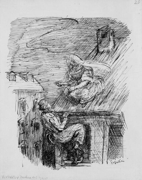 Alfred Kubin - Verliebter Zauberer und Hexe